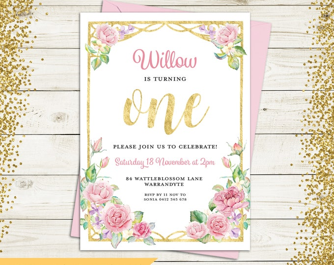 Birthday invitation girl, first birthday invitation, digital printable, 1st, 2nd, any age child, gold, pink purple flowers, fairy lights