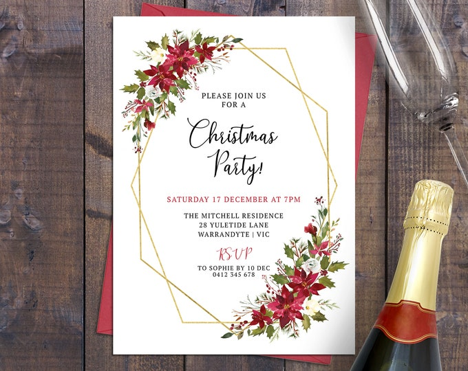 Gold geometric Christmas party invitation Xmas holiday card digital printable poinsettia holly