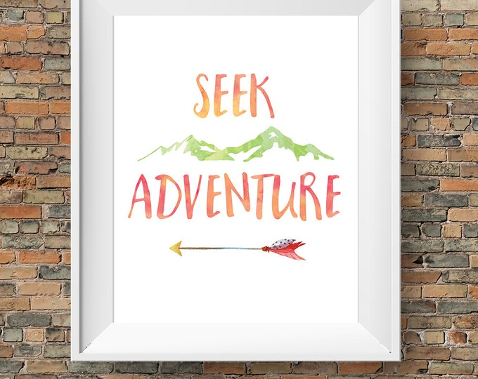 Seek Adventure print, instant download, digital printable wall art, watercolour mountains and arrow, BUY 3 prints get 1 FREE!
