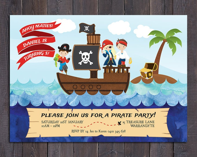 Pirate birthday invitation, boy digital printable pirate invitation, 1st, 2nd, 3rd, 4th, 5th, 6th, any age child, customised, personalised