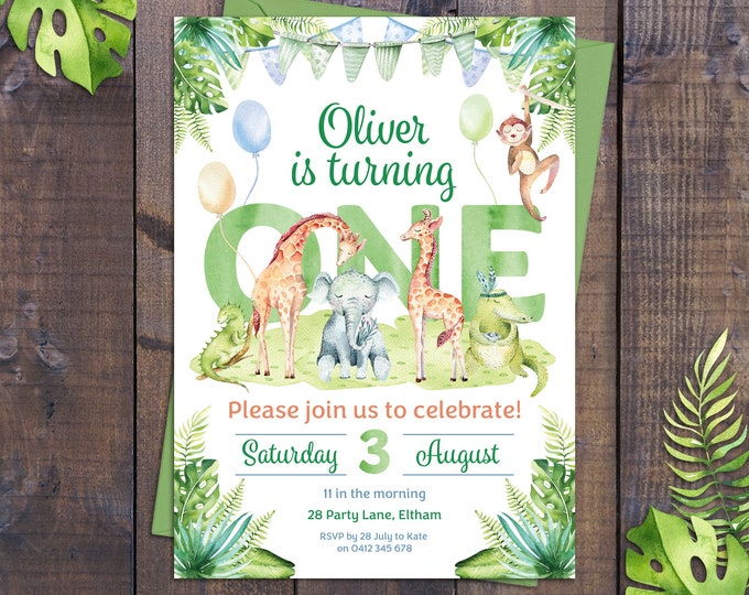 Jungle invitation, birthday invitation boy, safari animals, wild, elephant, giraffe, monkey, 1st, 2nd, any age child, printable, watercolour