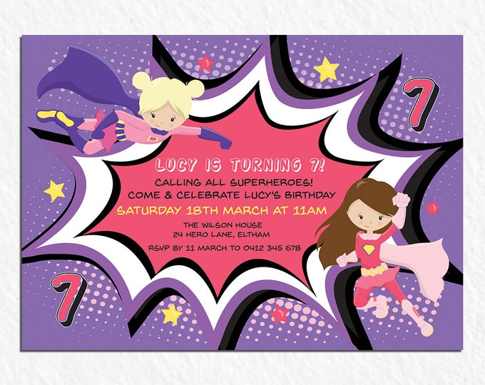 Superhero birthday invitation, girl digital printable invitation, 1st, 2nd, 3rd, 4th, 5th, 6th, any age child, customised, personalised