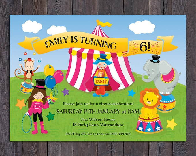 Circus birthday invitation, girl digital printable circus invitation, 1st, 2nd, 3rd, 4th, 5th, 6th, any age child, customised, personalised