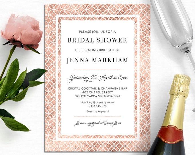 Bridal shower invitation, rose gold invitation, shower invitation, elegant customised digital printable invite