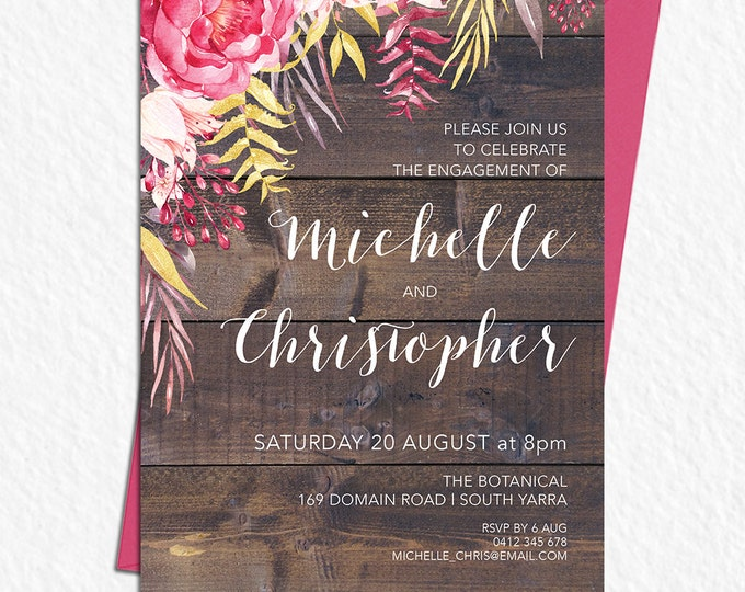 Rustic invitation, customised for any occasion - engagement, wedding, save the date, bridal or baby shower, digital printable