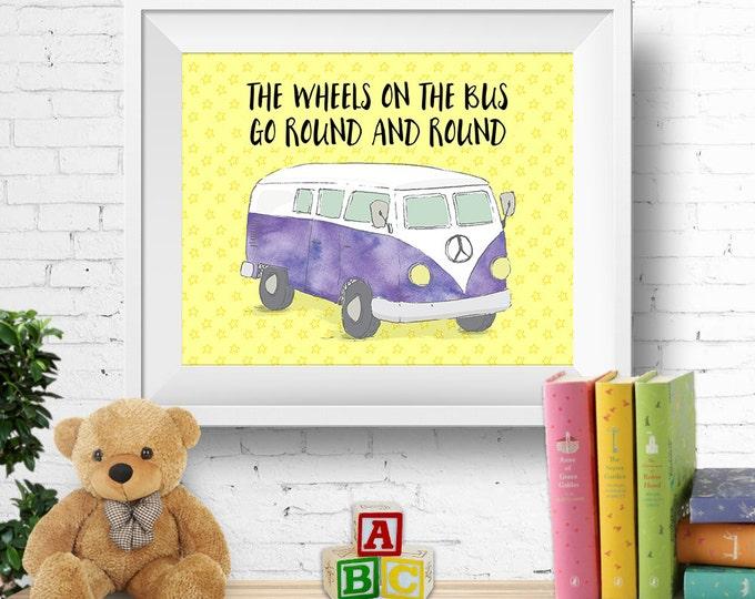 "Printable nursery wall art, ""the wheels on the bus"", VW kombi van, vw bus, watercolour purple, nursery rhyme, 8x10 inches, INSTANT DOWNLOAD"