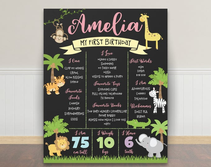 First birthday poster sign milestone board, hot air balloons, chalkboard poster, 1st birthday, first birthday sign, milestone poster, girl