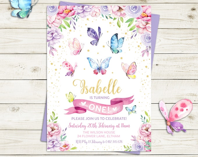 Butterfly invitation, butterflies birthday invitation, girl, butterfly party pink purple flowers, gold, printable, any age