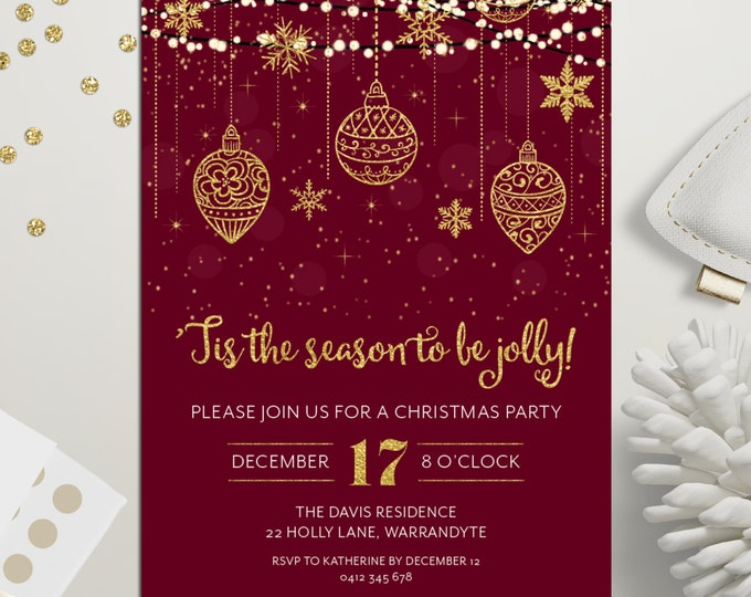 Christmas party invitation, Xmas holiday digital printable, Christmas invitation, gold and red, fairy lights, snowflakes, ornaments, stars