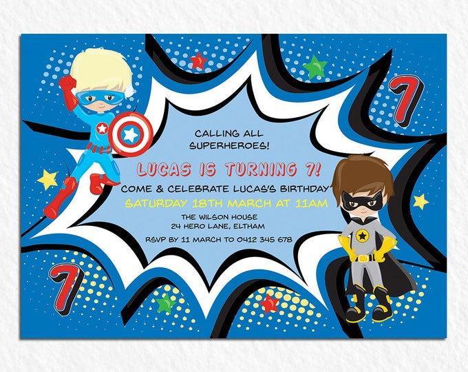 Superhero birthday invitation boy, digital printable invitation, 1st, 2nd, 3rd, 4th, 5th, 6th, any age child, customised, personalised