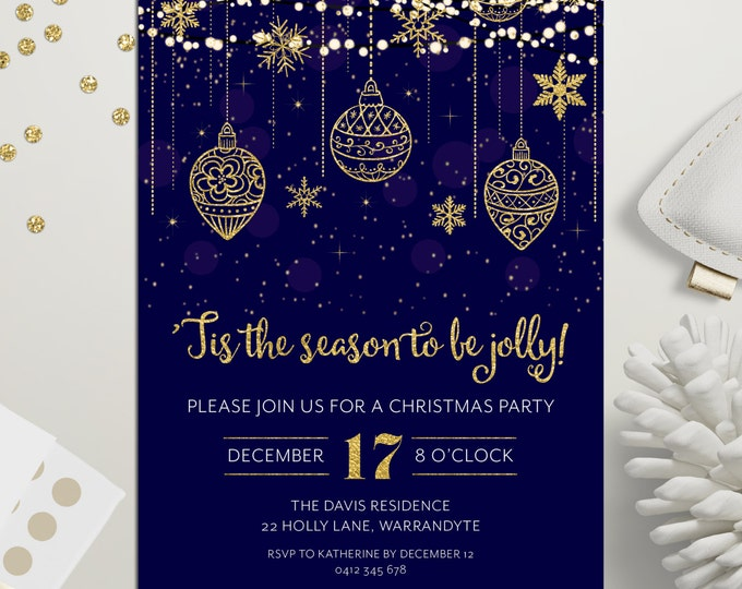 Christmas party invitation, Xmas holiday digital printable, Christmas invitation, gold and blue, fairy lights, snowflakes, ornaments, stars