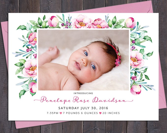 Floral birth announcement girl, birth announcement photo, baby girl, pink roses, peonies, leaves, digital customised printable