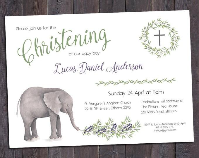 Christening invitation, Baptism invitation, naming invitation, boy, watercolour elephant and leaves, digital customised printable