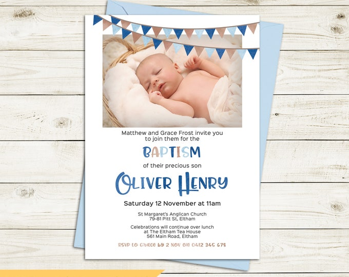 Christening invitation boy, Baptism invitation boy, naming invitation, photo & watercolour bunting/flags, blue and brown, digital printable