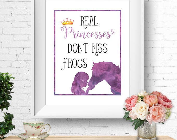 Real Princesses Don't Kiss Frogs quote, horse wall print, printable art, watercolour purple, instant download, buy 3 get 1 FREE!