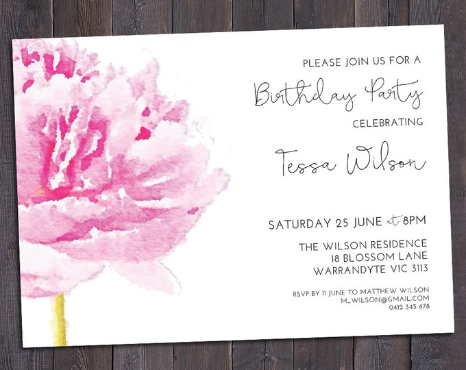 Pink peony invitation, customised for any occasion - birthday party, bridal or baby shower, save the date, wedding, digital printable