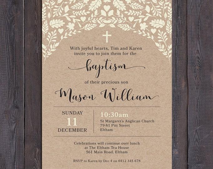 Christening invitation, Baptism invitation, naming invitation, boy or girl, kraft paper cream leaves, cross or heart, digital printable