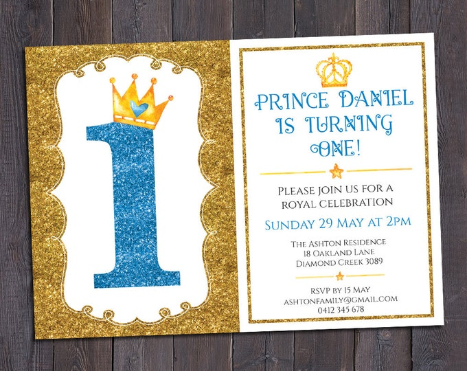 Birthday invitation, prince invitation, boy digital printable number, 1st, 2nd, any age child, customised, personalised, glitter & crowns