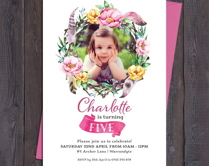 Birthday invitation girl, boho invitation, digital printable, 1st, 2nd, any age child, customised, photo, floral wreath, watercolour