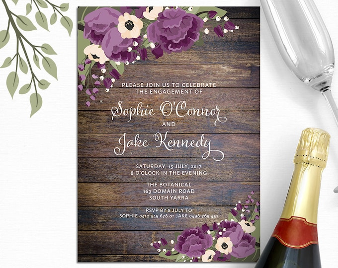 Rustic invitation, purple flowers, customised for any occasion - engagement party, bridal or baby shower, wedding, digital printable