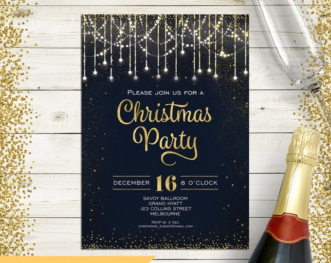 Christmas invitation, Christmas party invitation, Xmas holiday digital printable, black and gold, fairy lights, string lights, confetti