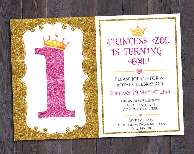 Birthday invitation, princess invitation, girl digital printable number, 1st, 2nd, any age child, customised, personalised, glitter & crowns