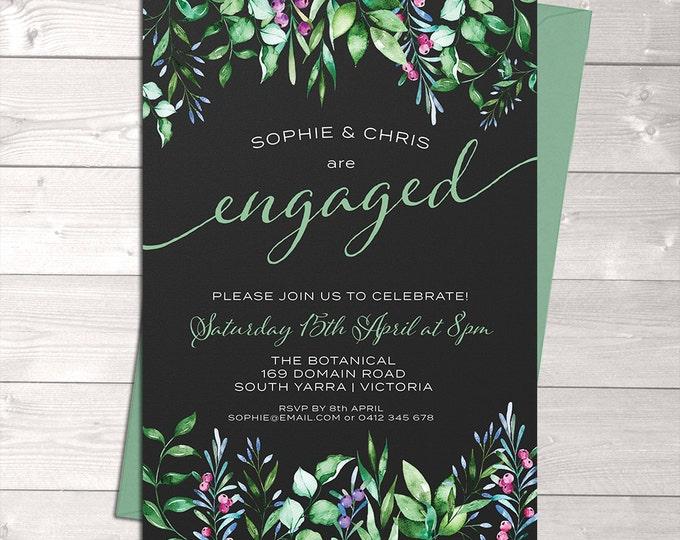 Engagement invitation, wedding invitation, chalkboard, watercolour leaves, digital customised printable