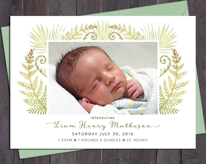 Boy birth announcement, photo, baby boy, ferns, leaves, digital customised printable