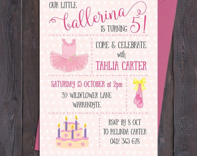 Ballerina birthday invitation, girls birthday party invite, any age child, customised, personalised, printable file