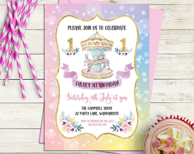 Carousel birthday invitation, girl birthday party invite, any age child, horse, pastel, gold customised personalised, digital printable file