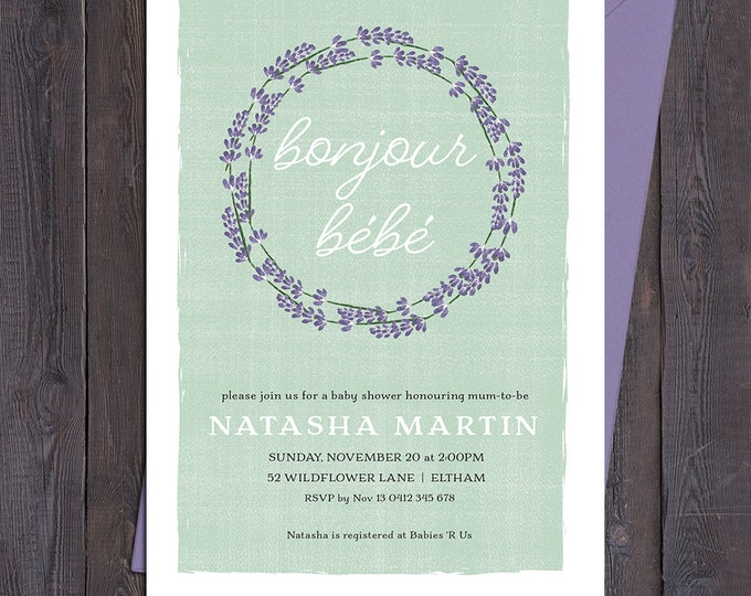 Baby shower invitation, french bonjour bebe, lavender floral wreath, sage green background, boy or girl, twins, customised digital printable