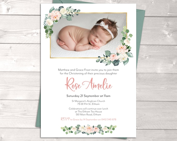Christening invitation girl, Baptism invitation girl, naming invitation, photo and watercolour flowers, gold pink peach, printable
