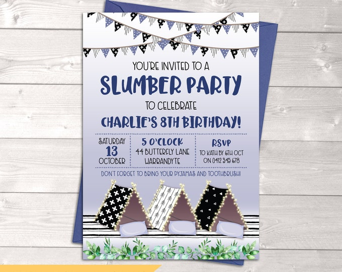 Slumber party invitation, sleepover, birthday invitation, boy, tents, tee pees, pajama pyjama party, blue black glamping, printable, any age