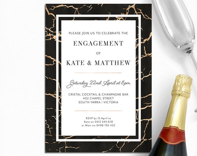 Marble invitation, engagement invitation, wedding invitation, elegant, black and gold, digital printable, customised
