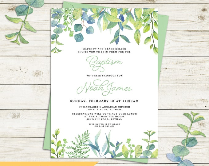Christening invitation, Baptism invitation, naming invitation, boy or girl, watercolour botanical leaves, green and blue. digital printable