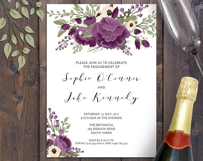 Purple floral invitation, any occasion - birthday, bridal shower, baby shower, engagement, wedding, christening, baptism, digital printable