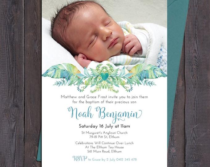 Christening invitation boy, baptism invitation boy, naming invitation, boy, photo and beautiful leaves, digital customised printable