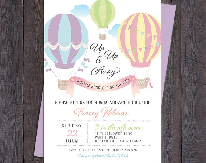 Baby shower invitation, hot air balloons, baby shower invite, pastel customised digital printable