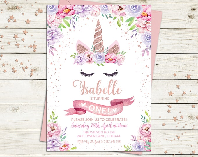 Unicorn invitation, unicorn birthday invitation, girl, unicorn party, floral invitation, pink purple flowers, rose gold, printable, any age