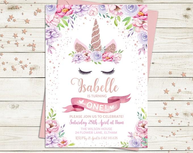 Unicorn invitation, unicorn birthday invitation, girl, unicorn party, floral invitation, pink purple flowers, rose gold, printable, any age