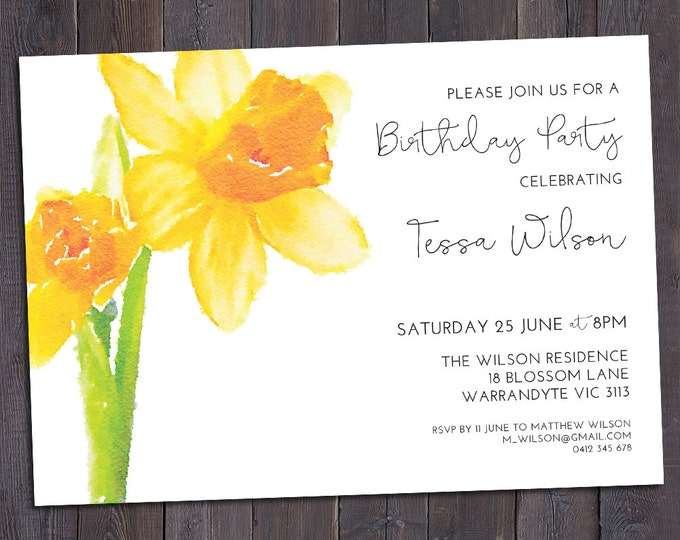 Daffodil invitation, customised for any occasion - birthday party, bridal or baby shower, save the date, wedding, digital printable
