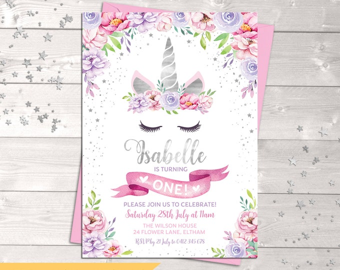Unicorn invitation, unicorn birthday invitation, girl, unicorn party, floral invitation, pink purple flowers, silver, printable, any age