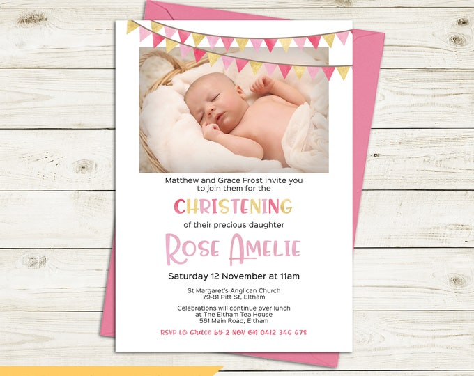 Christening invitation, Baptism invitation, naming invitation, girl, photo and watercolour bunting/flags, pink and gold, digital printable