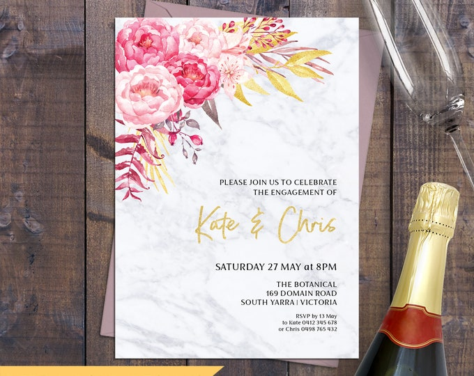 Marble invitation, engagement invitation, wedding invitation, pink flowers and gold, digital printable, customised