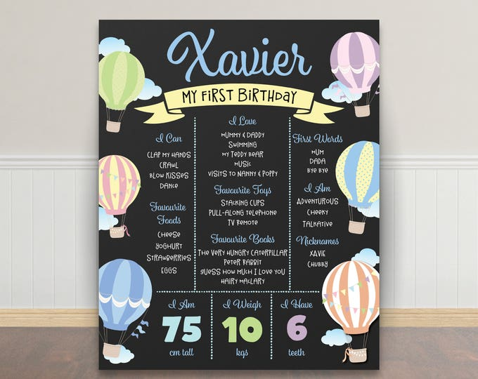 First birthday poster sign milestone board, hot air balloons, chalkboard poster, 1st birthday, first birthday sign, milestone poster, boy