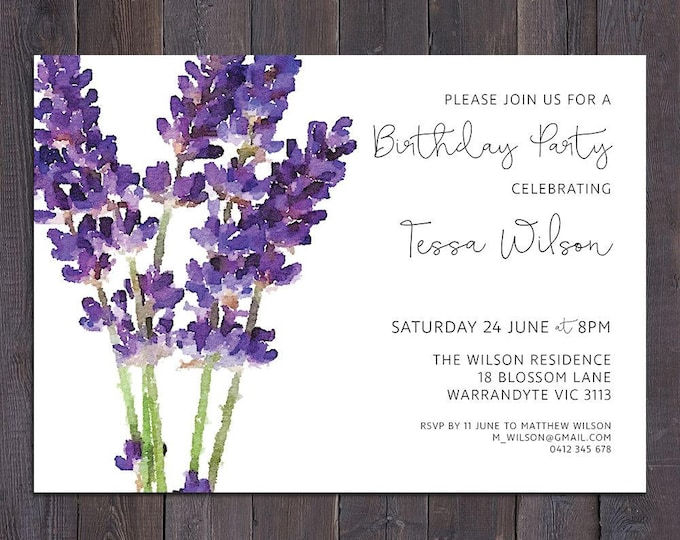 Lavender invitation, customised for any occasion - birthday party, bridal or baby shower, save the date, wedding, digital printable