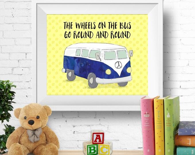"Printable nursery wall art, ""the wheels on the bus"", VW kombi van, vw bus, watercolour blue, nursery rhyme, 8x10 inches, INSTANT DOWNLOAD"