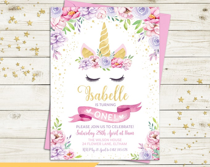 Unicorn invitation, unicorn birthday invitation, girl, unicorn party, floral invitation, pink purple flowers, gold, printable, any age