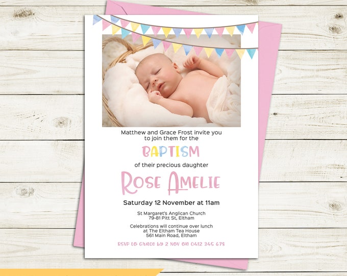 Christening invitation, Baptism invitation, naming invitation, girl, photo and watercolour bunting/flags, pink yellow blue digital printable