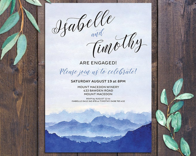 Mountain invitation, watercolour, engagement invitation, wedding invitation, blue, any occasion, digital customised printable